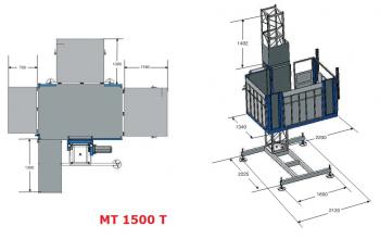 Строительный мачтовый подъемник МТ-1500, высота подъема до 30 м -