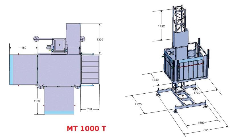 Грузовой мачтовый подъемник МТ-1000, высота подъема 40 м - 2